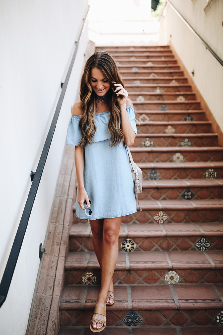 lauren sims off the shoulder denim dress