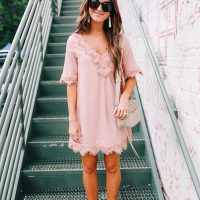 lauren sims pink lace dress