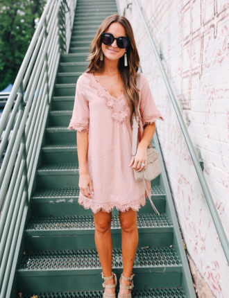 pink lace dress + thoughts on staying present