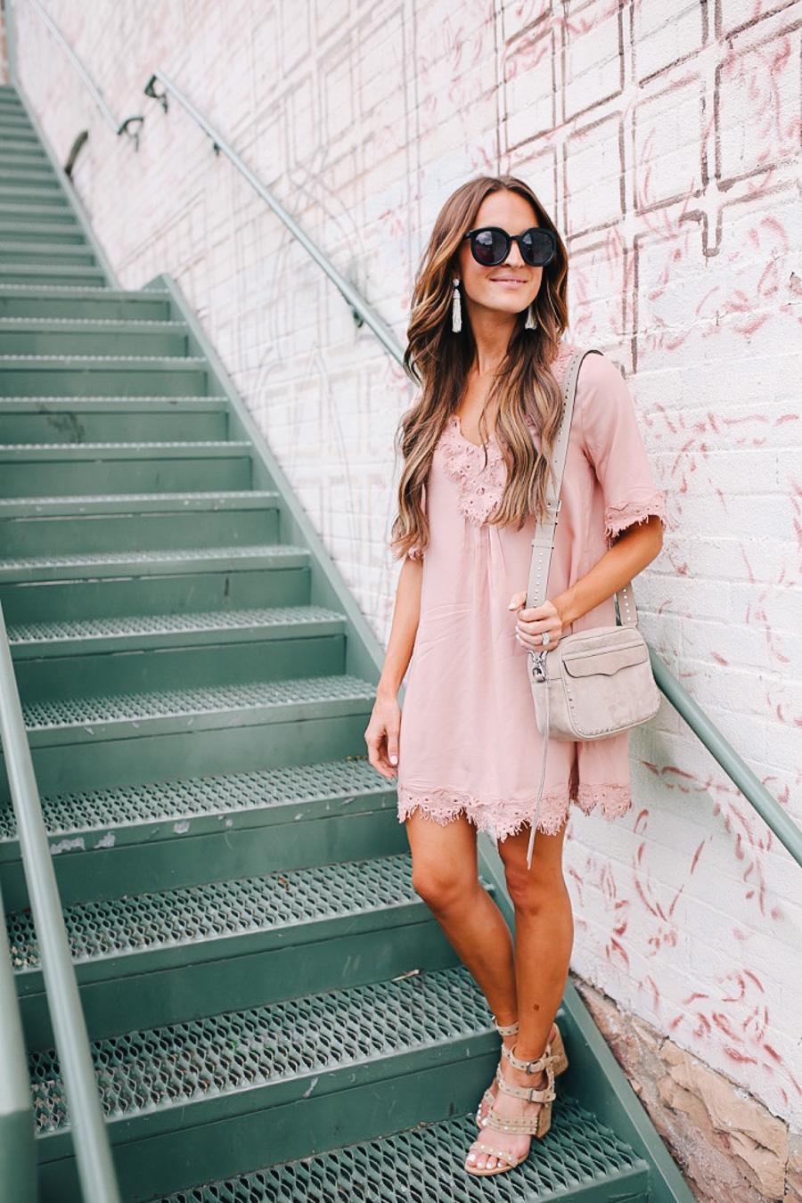 lauren sims pink lace dress