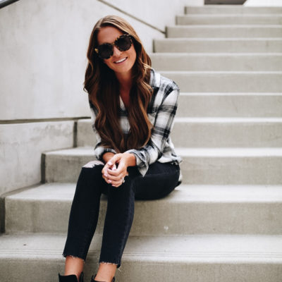 #NSale: black jeans, booties, and plaid