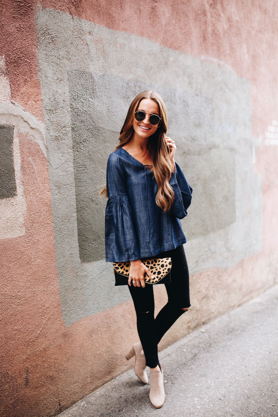 lauren sims denim bell sleeve top