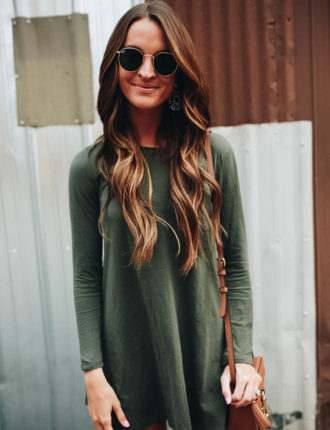 lauren sims olive green tshirt dress