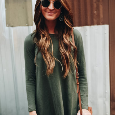olive green tshirt dress + whitefish, montana