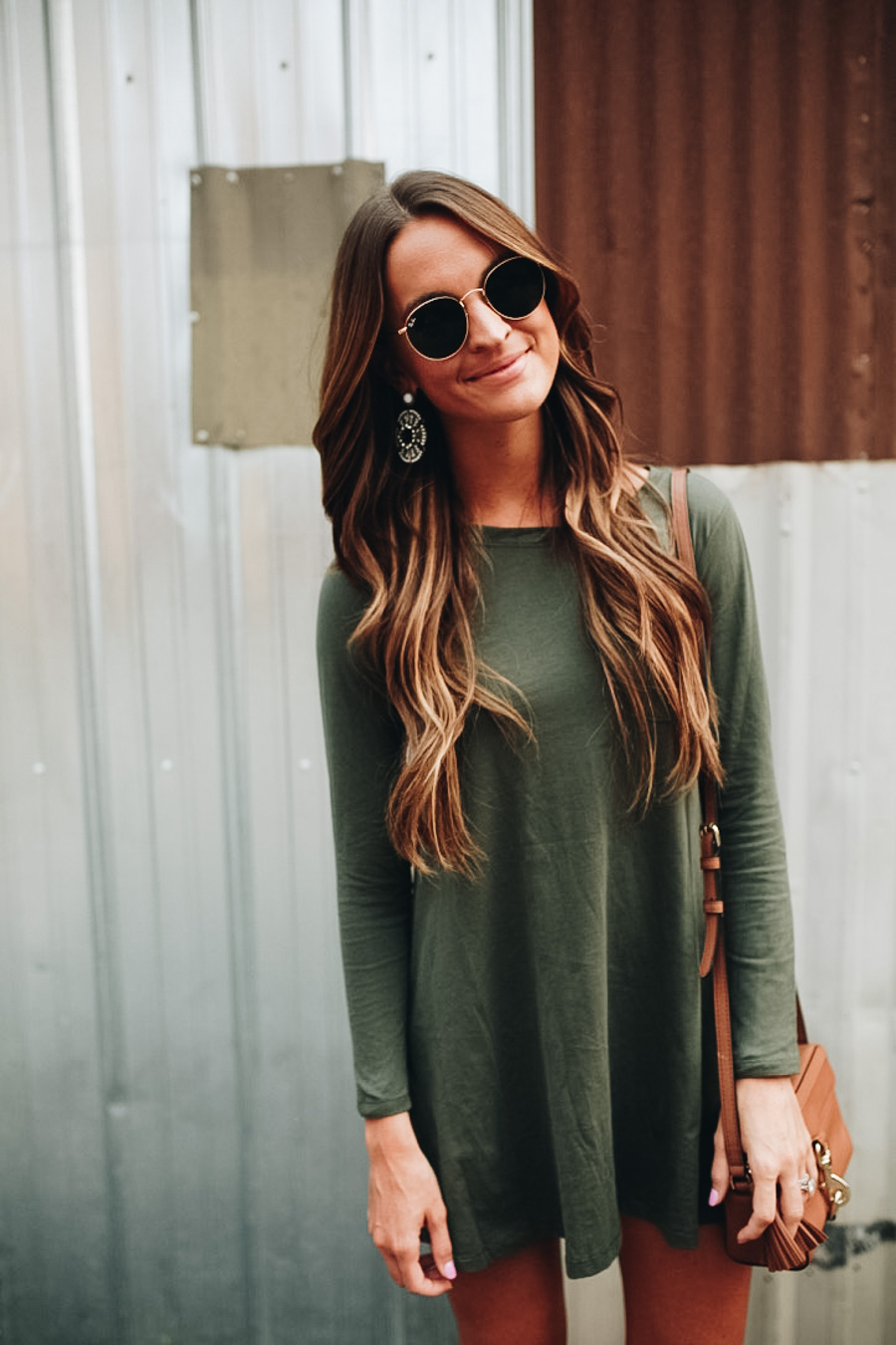 lauren sims olive green tshirt dress