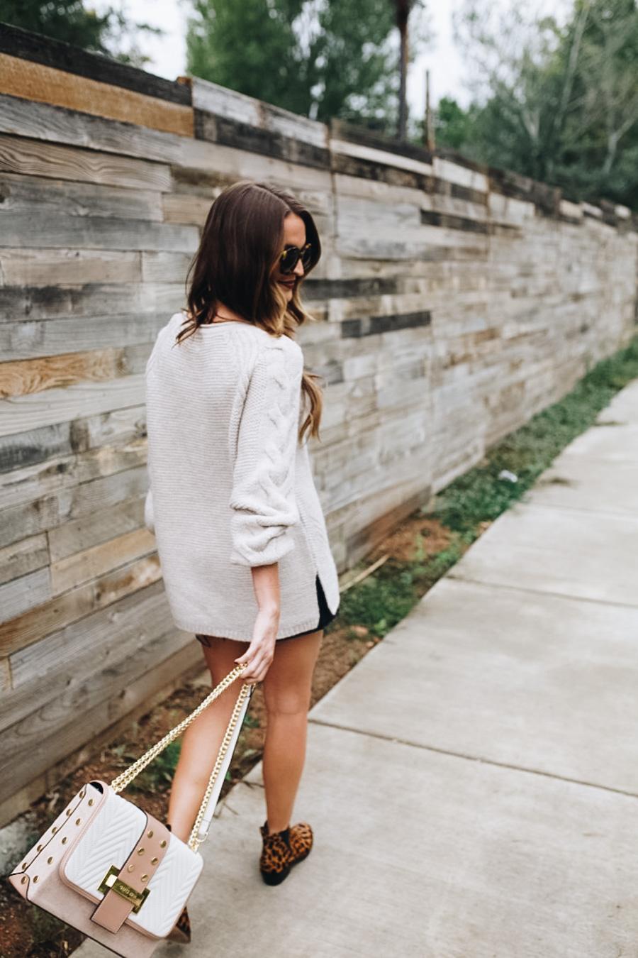 lauren sims oversized sweater denim skirt
