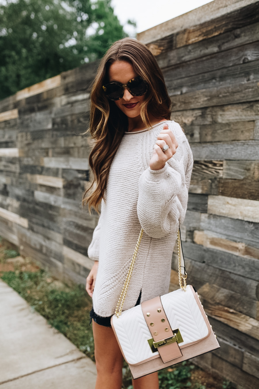 lauren sims oversized sweater denim skirt