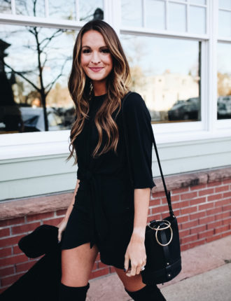 lauren sims black over the knee boots