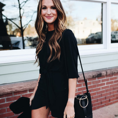 chic in all black for the holidays