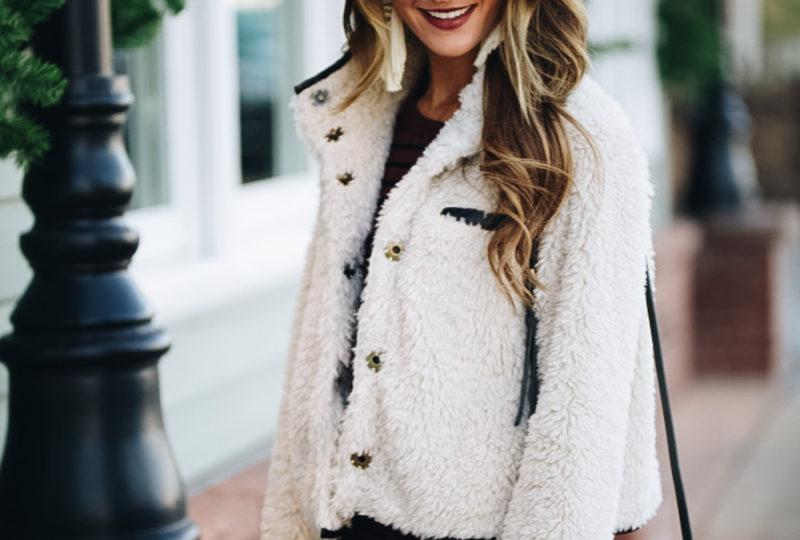 sherpa jacket + winter wardrobe staples