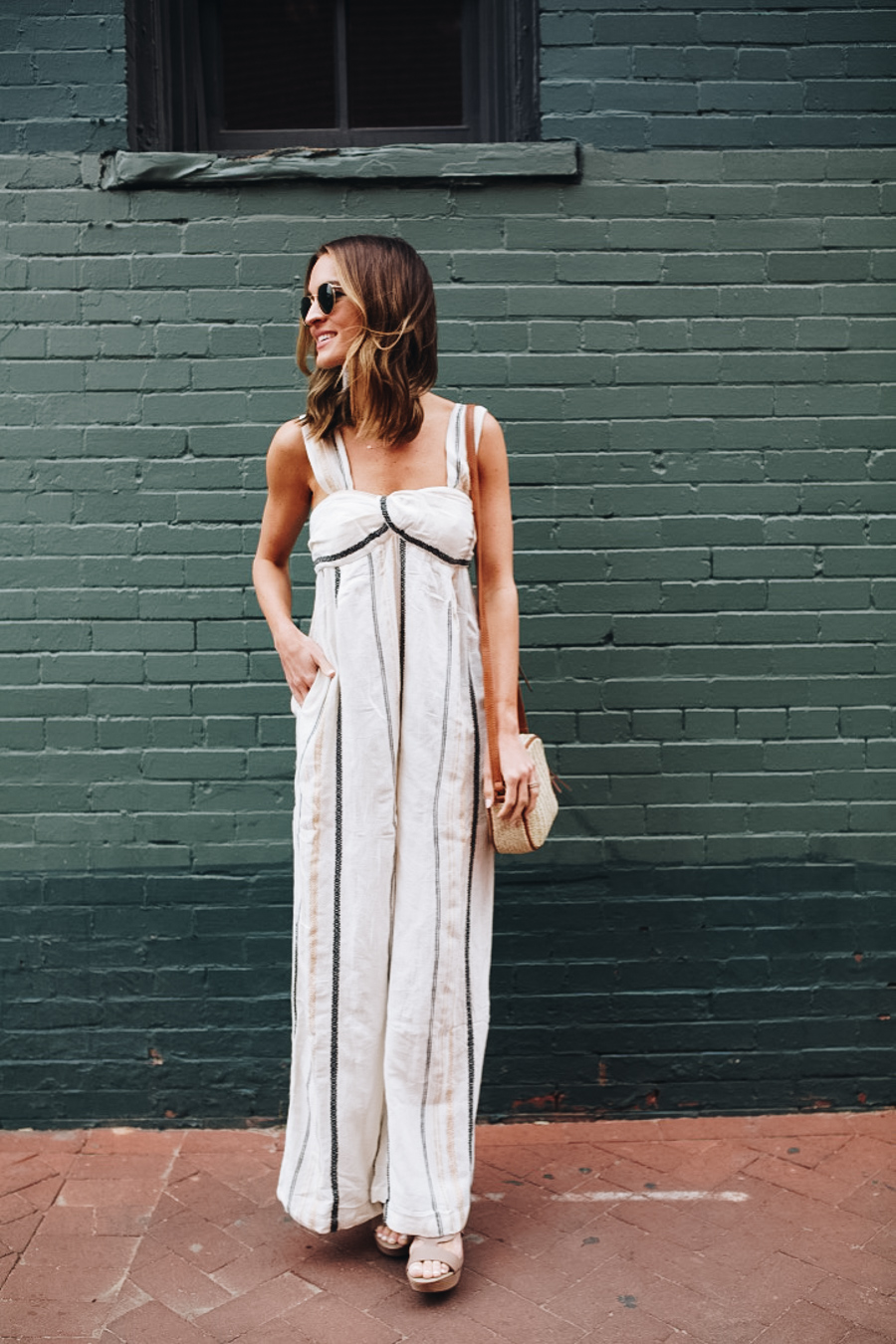 lauren sims free people striped jumpsuit