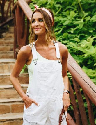 lauren sims white overalls