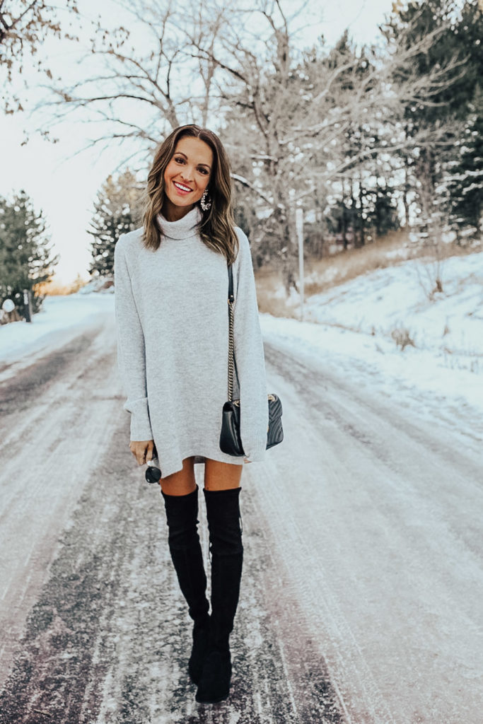 lauren sims grey sweater dress