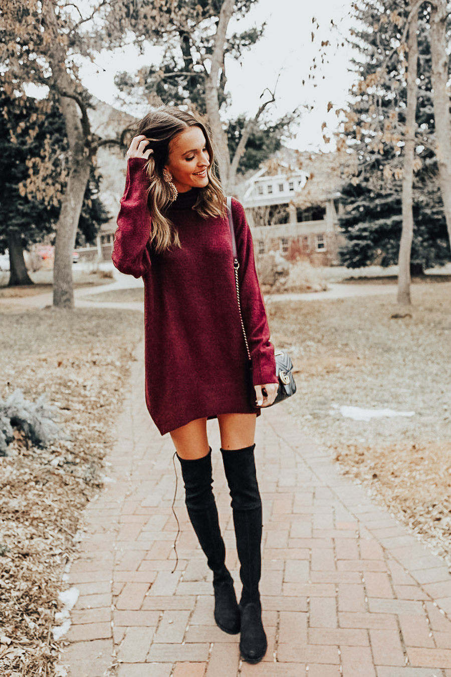 lauren sims turtleneck sweater dress