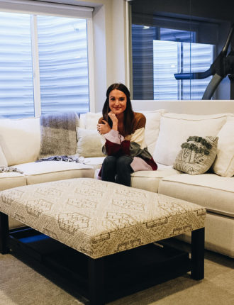 arhaus sectional + ottoman review