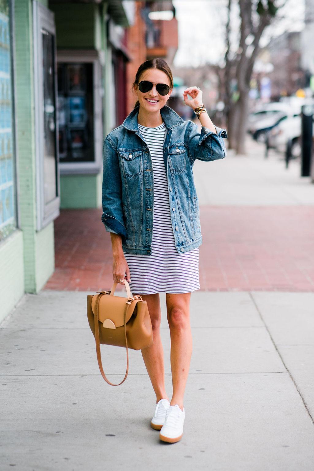 lauren sims t-shirt dress and sneakers