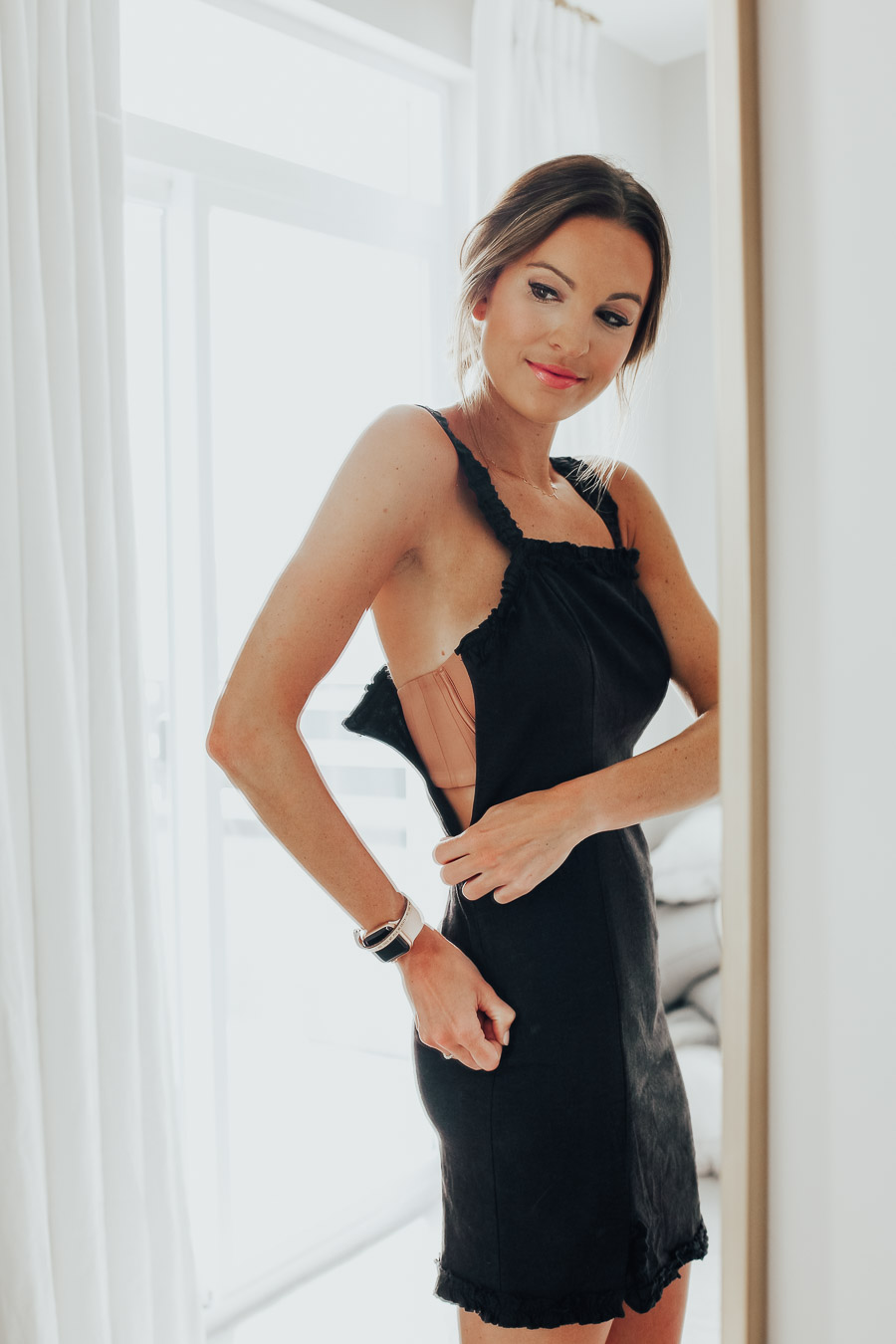 fashion blogger wearing the best strapless bra from soma intimates