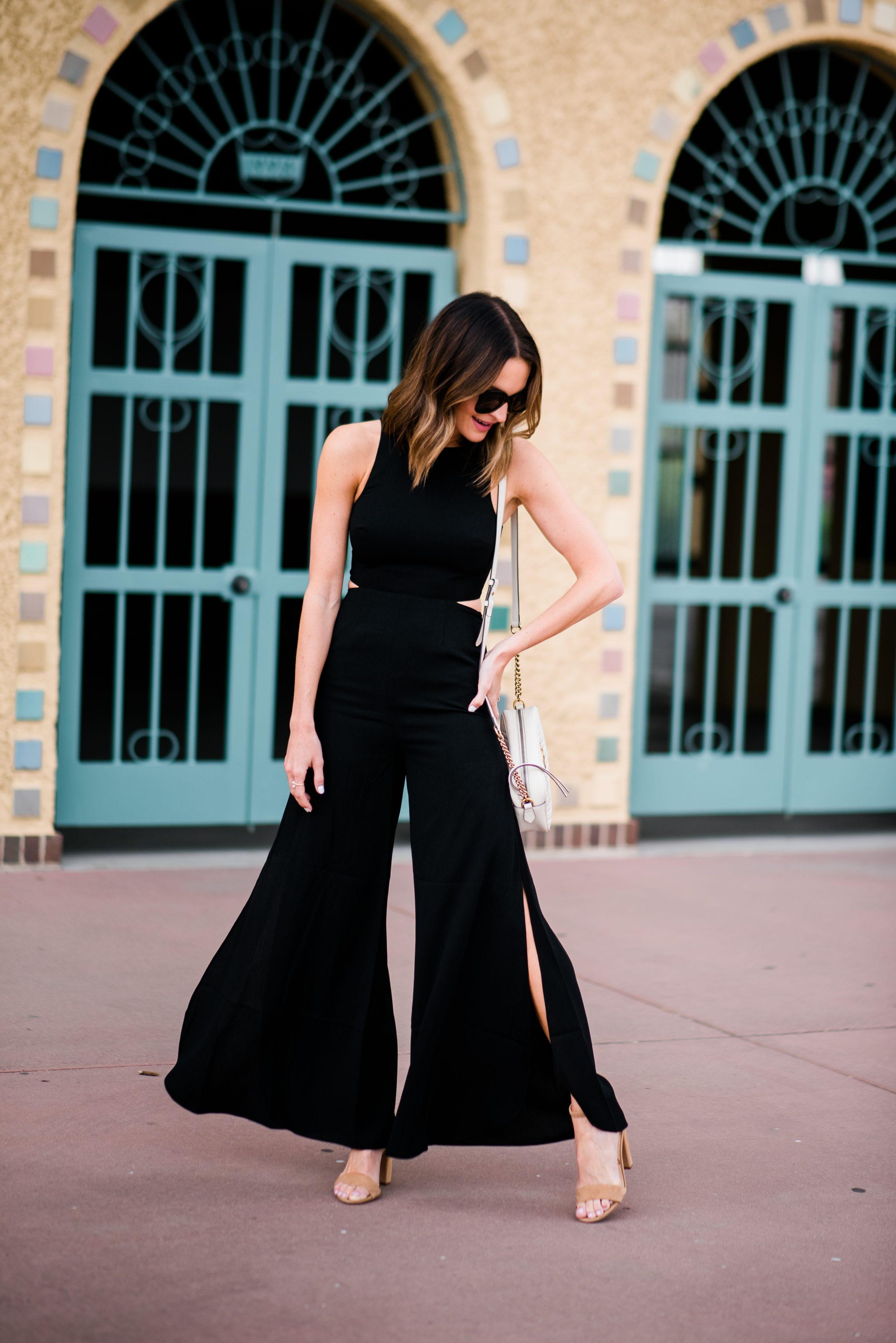 lauren sims little black jumpsuit