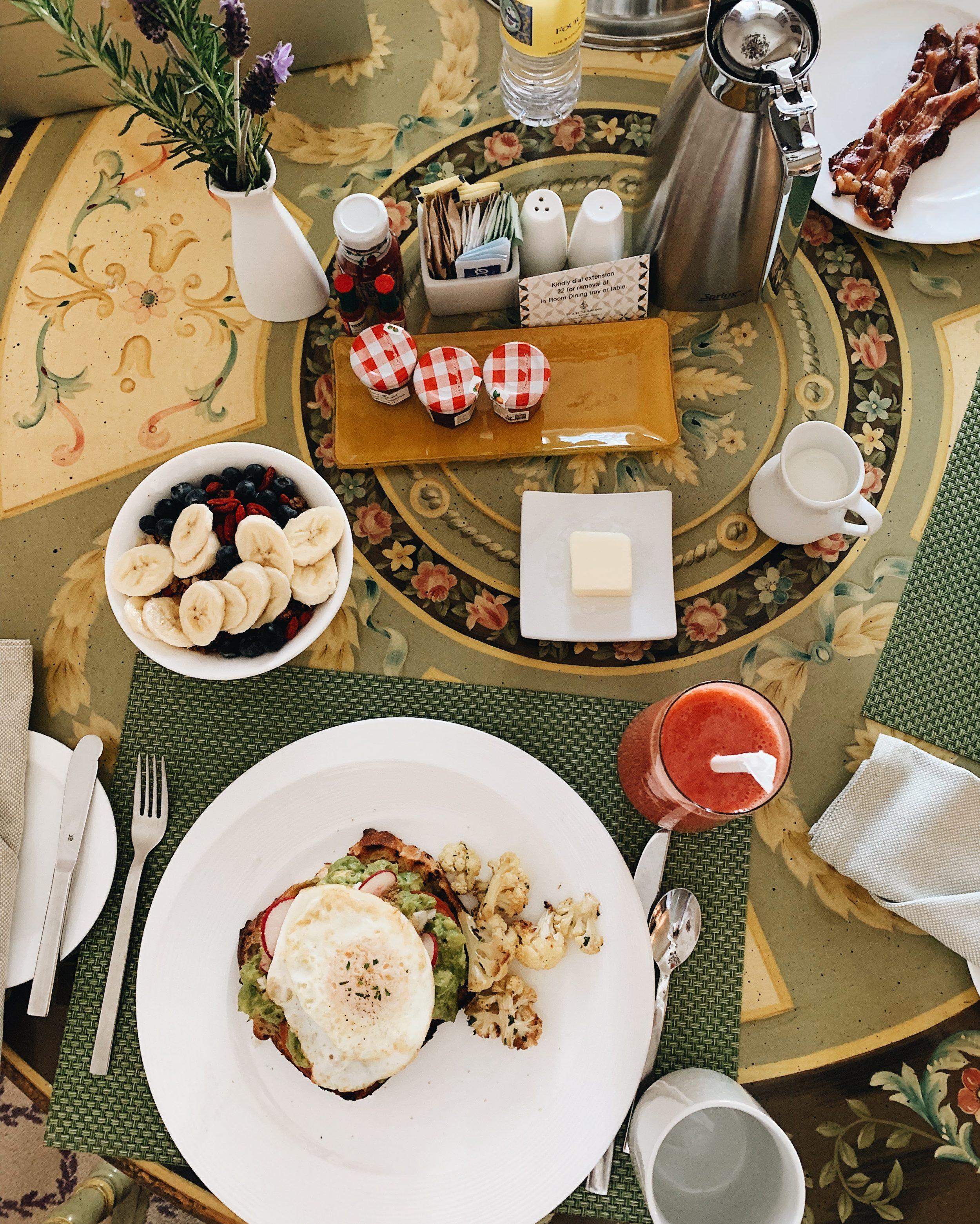 four seasons santa barbara room service breakfast in honeymoon suite