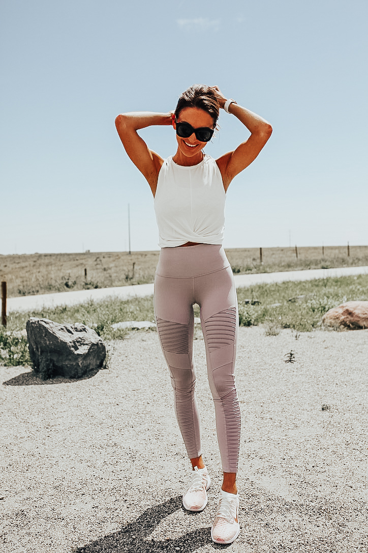 white workout crop top knotted front blush leggings white nike workout shoes from nordstrom anniversay sale