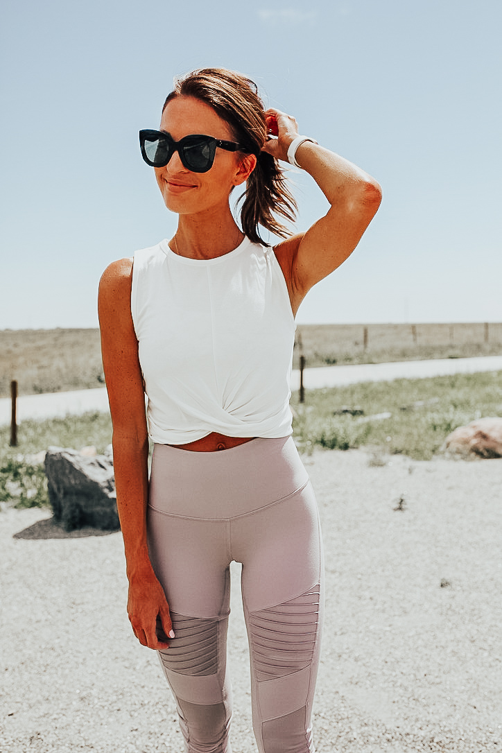 nordstrom anniversary sale workout clothes white workout crop top knotted front blush leggings white nike workout shoes