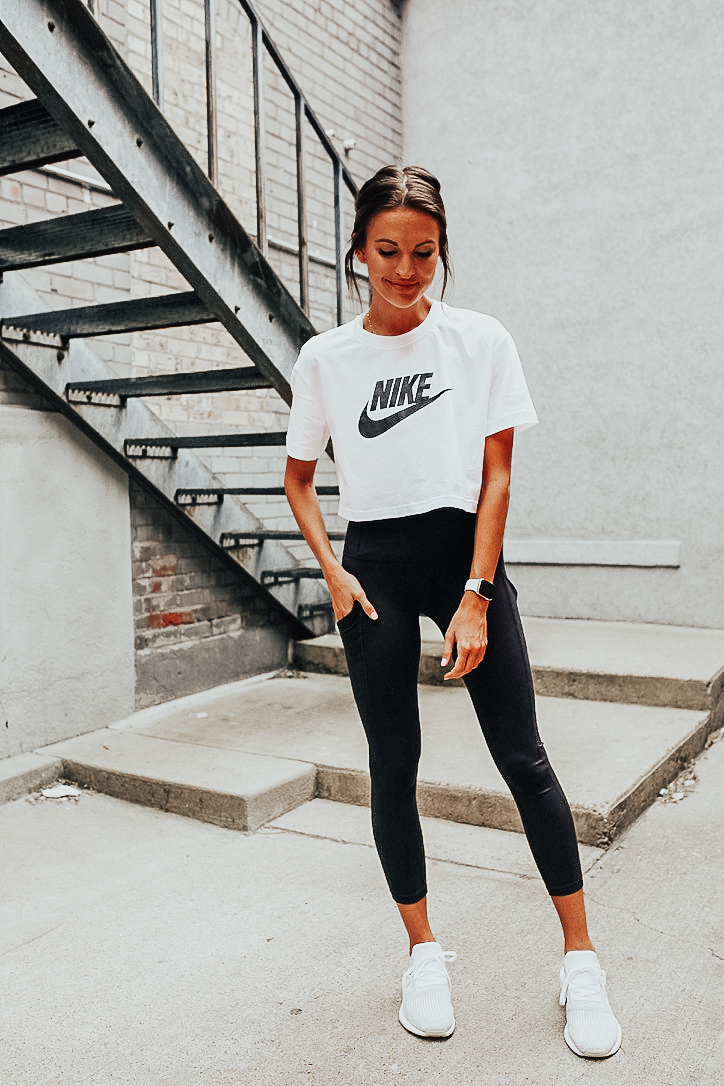 nordstrom anniversary sale workout clothes black zella leggings cropped nike workout shirt adidas running sneakers